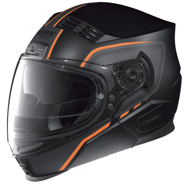 Casco moto Nolan N71 Vanquish N-com nero opaco rosso