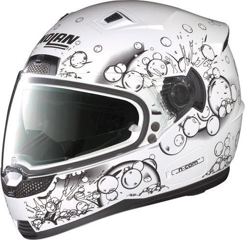 Casco moto integrale Nolan N85 Frizzy N-com bianco lucido