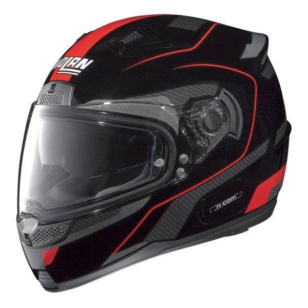 Casco moto Nolan N85 Virage N-com nero-rosso