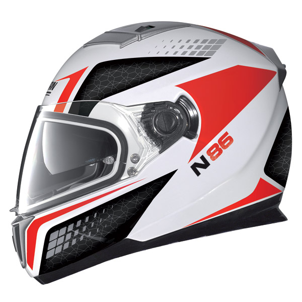 Casco moto Nolan N86 Burn Out metal white-rosso