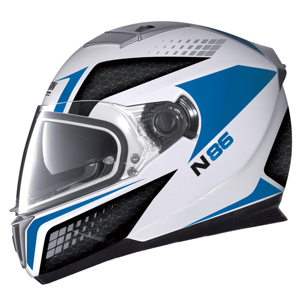 Casco moto Nolan N86 Burn Out metal white-blu