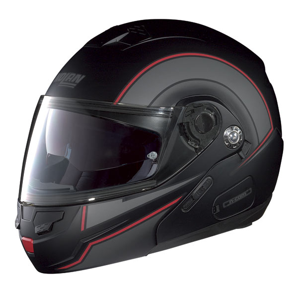 Nolan N90 Drive N-com Flip-up helmet flat black-red