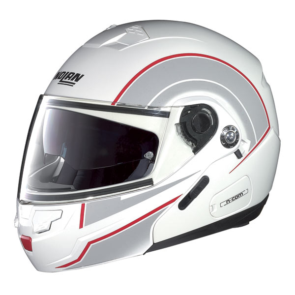 Nolan N90 Drive N-com Flip-up helmet flat white-red