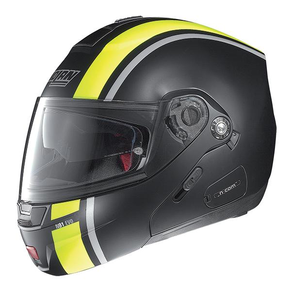 Nolan N91 Evo Strip N-Com flip off helmet Black Yellow