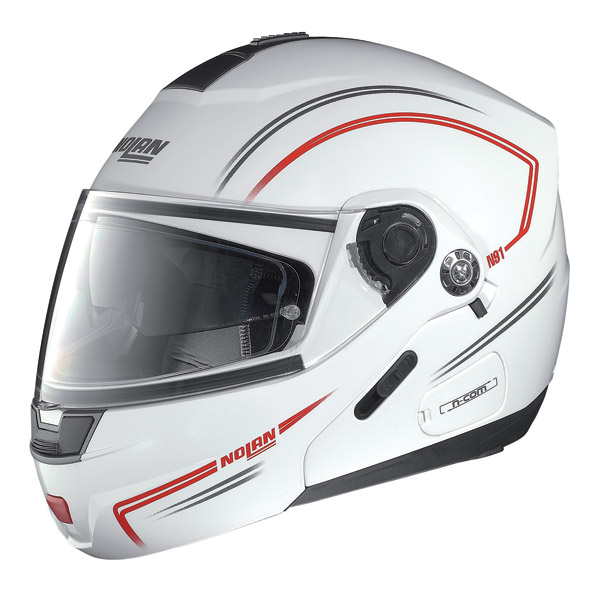 Motorcycle Helmet flip-up Nolan N91 Linear N-Com White