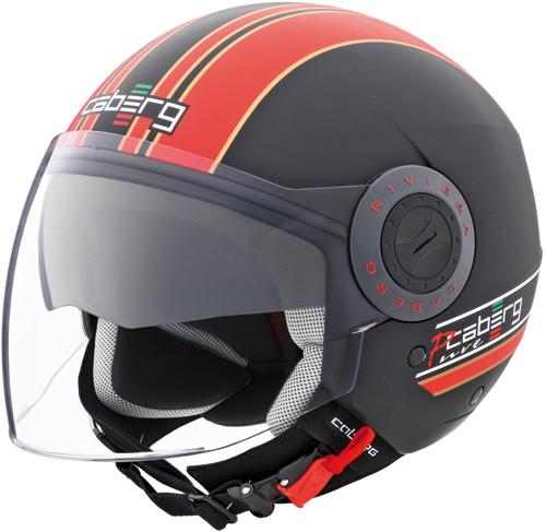 Casco moto jet Caberg Riviera V2+ Pure nero-rosso
