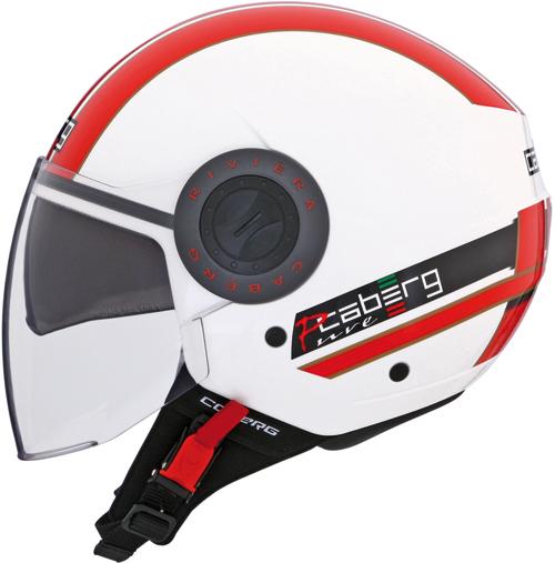 Casco moto jet Caberg Riviera V2+ Pure bianco-rosso
