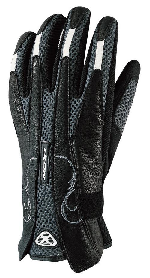 Guanti moto donna Ixon pelle-tessuto estivi RS Gloss nero-grigio