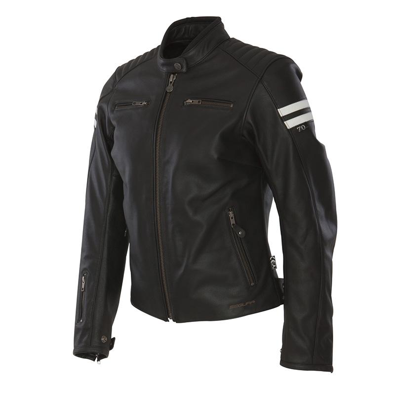 Ladies leather motorcycle jacket Approved Segura Retro Black Whi