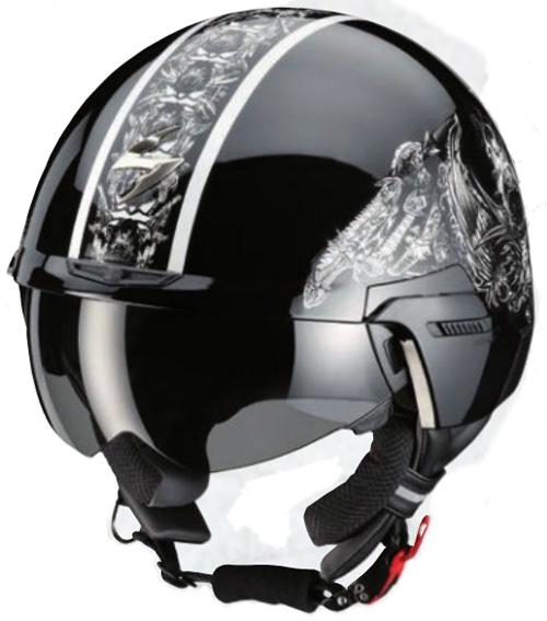 Scorpion EXO100 SKULL open face helmet Black-White