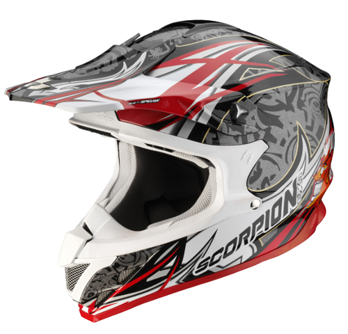 Casco moto cross Scorpion VX 15 AIR DIABLO Nero-Argento-Rosso