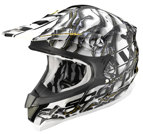 Casco moto cross Scorpion VX 15 AIR OIL Bianco-Nero-Giallo