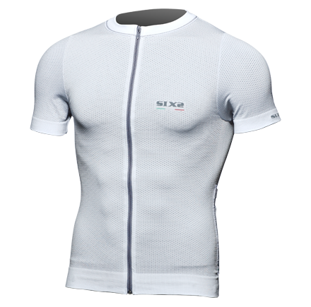 Sixs summer short-sleeved zipped carbon t-shirt White