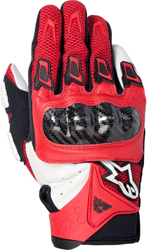 Alpinestars SMX-2 Air Carbon motorcycle gloves red-white