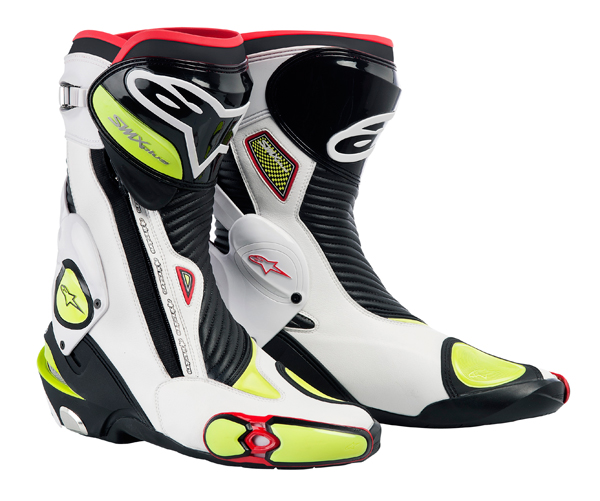 Stivali moto Alpinestars S-MX Plus neri-bianco-giallo fluo