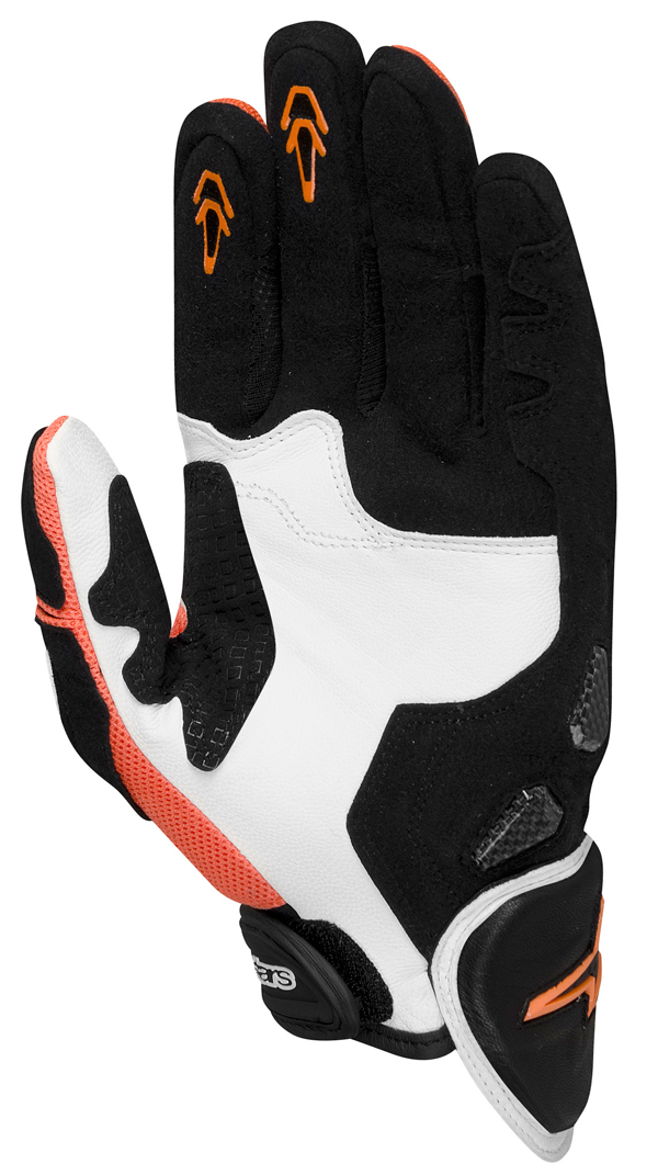 Guanti moto pelle Alpinestars SP-X bianco arancio nero