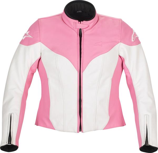 Giacca moto donna in pelle Alpinestars Stella Ice bianco-rosa