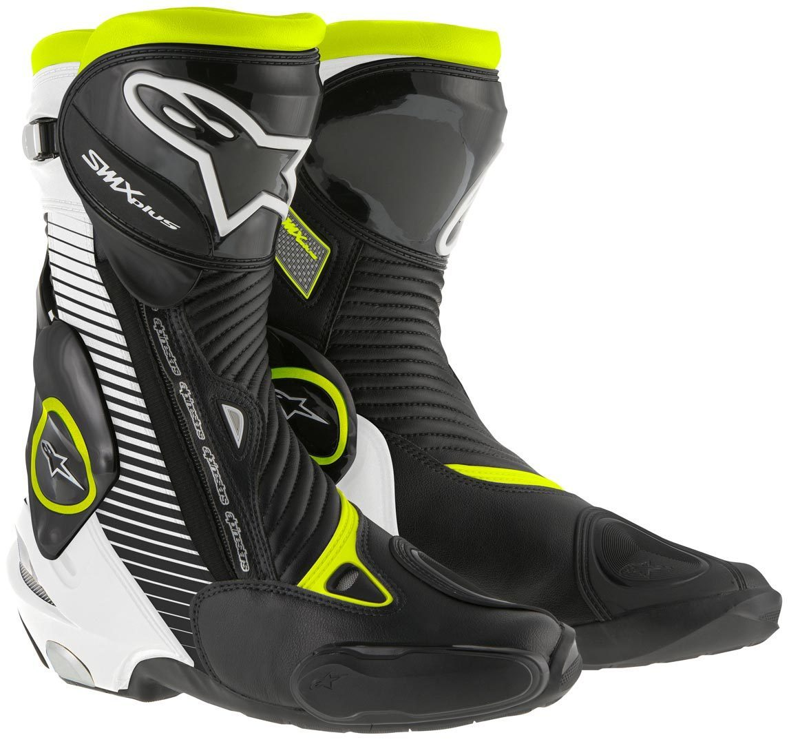 Stivali moto racing Alpinestars S-MX PLUS nero bianco giallo