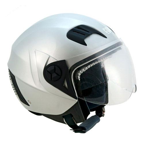 CGM Street jet helmet with sun visor Silver