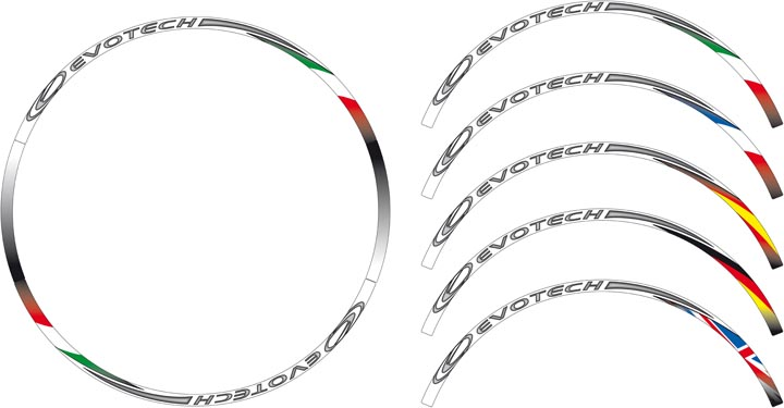 Evotech Stickers Wheel World Flags Italy