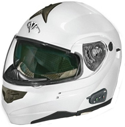 Vega SUMMIT 3 Bluetooth integrated flip off helmet PearlWhite