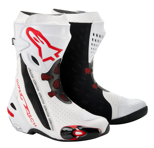 Stivali moto racing Alpinestars Supertech R nero-rossi vented