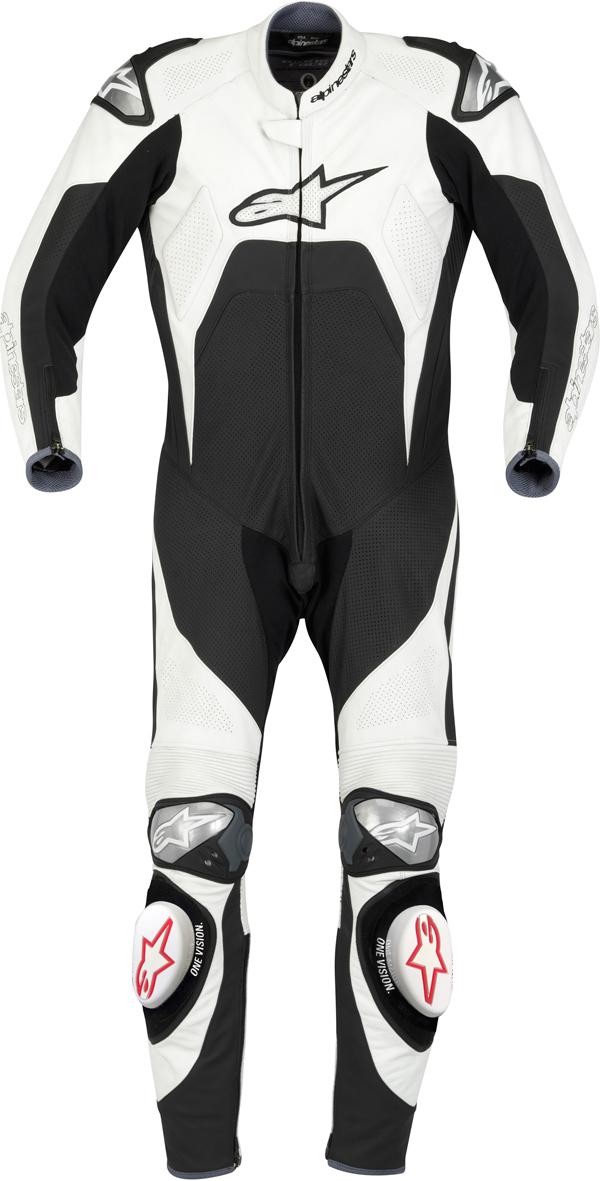 Tuta moto intera Alpinestars Tech 1-R bianco-nera