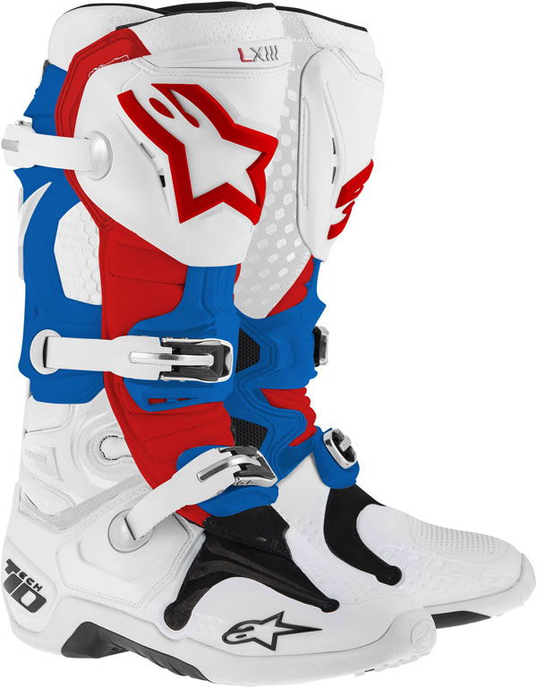 Alpinestars Tech-10 off-road boots white-blue-red 2014