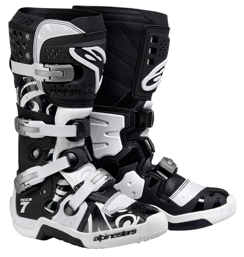 Stivali moto cross Alpinestars Tech 7 nero bianchi swirls