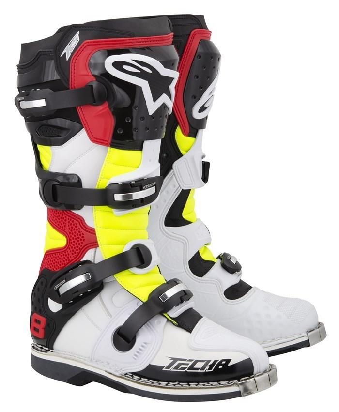 Stivali moto cross Alpinestars Tech 8 RS bianco giallo fluo ross