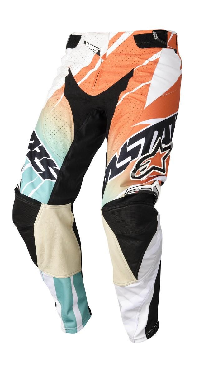 Pantaloni cross Alpinestars Techstar 2014 bianco arancio azzurro
