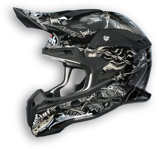 Casco moto cross Airoh Terminator Thorns nero lucido