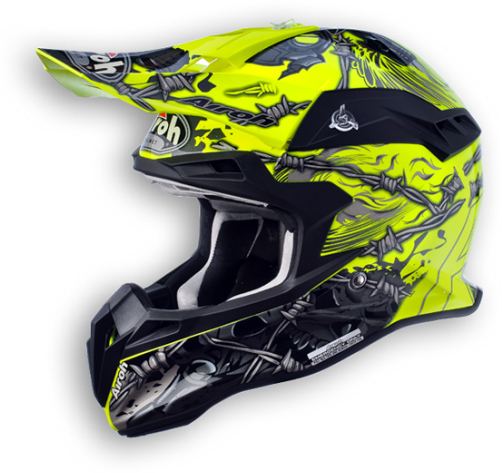 Casco moto cross Airoh Terminator Thorns giallo lucido