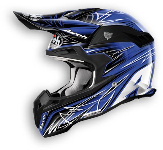 Casco moto cross Airoh Terminator Sharp blu
