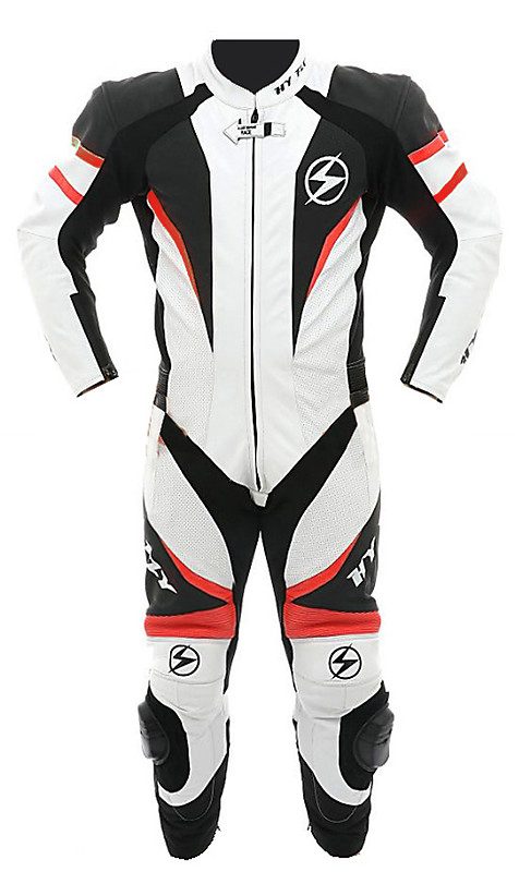 Tuta moto pelle estiva Hy Fly X8 Racing Bianco Nero Rosso