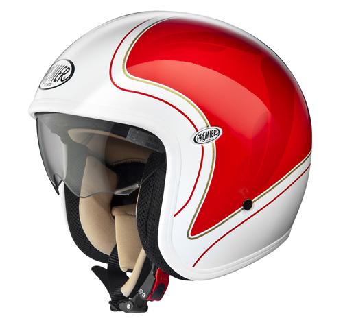 Casco moto demi-jet Premier VINTAGE HE21 Bianco-Rosso