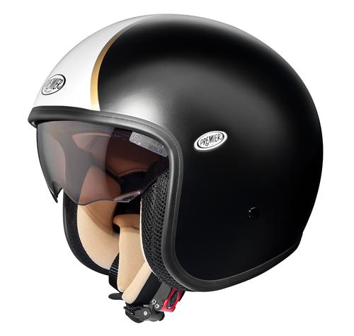 Premier VINTAGE DLBM demi-jet helmet Black-White-Gold