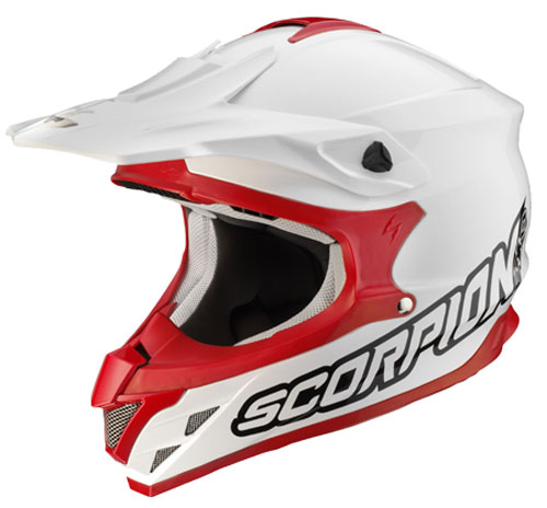 Casco cross Scorpion VX 15 Air Solid Bianco-Rosso
