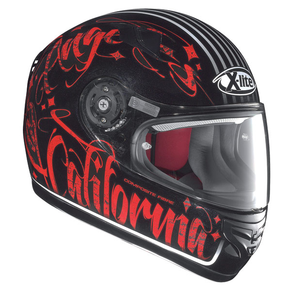 Casco moto X-Lite X-603 Dolly N-Com metal black-rosso