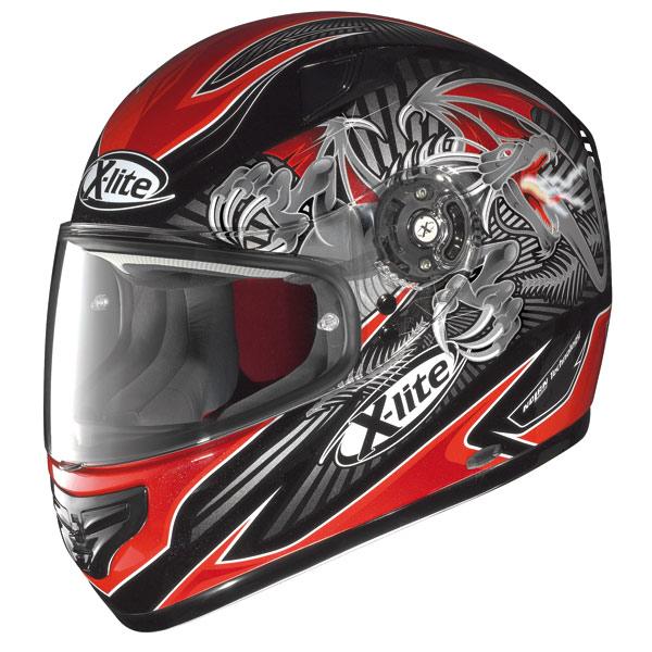 Casco moto X-Lite X-603 Hell N-Com metal black-red