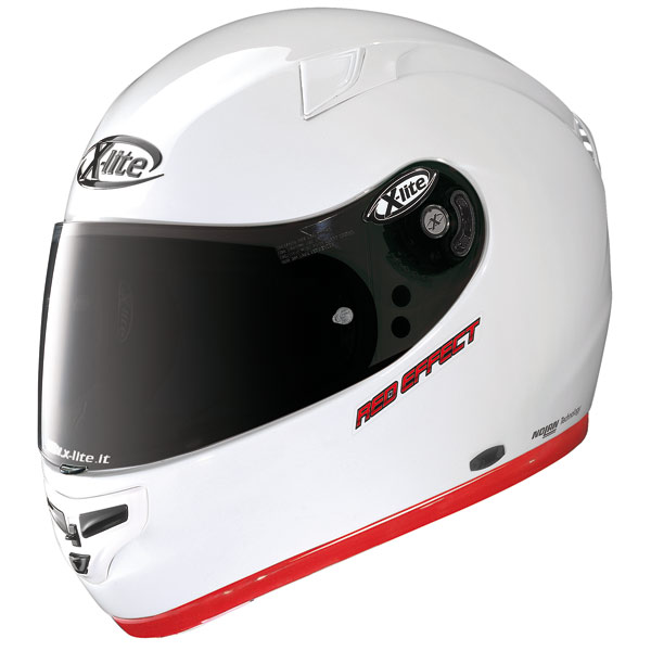 X-lite X-603 Red Effect N-Com metal white fullface helmet