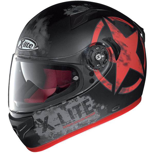 X-Lite X-661 Airman N-Com full face helmet Matte Black Red