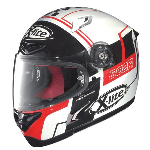 Casco moto X-Lite X-802R Rush bianco-nero-rosso