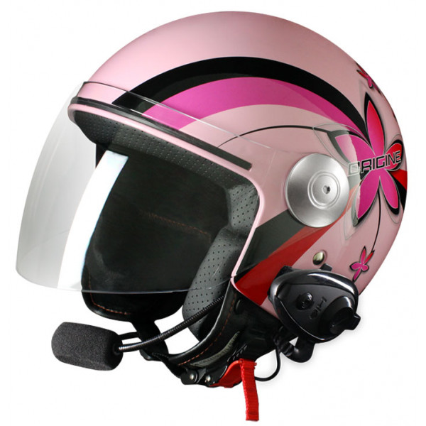 Casco jet Origine Pronto Flower con interfono Kiè Rosa