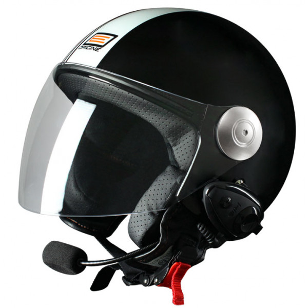 Casco jet Origine Pronto Tony con interfono Kiè Nero opaco