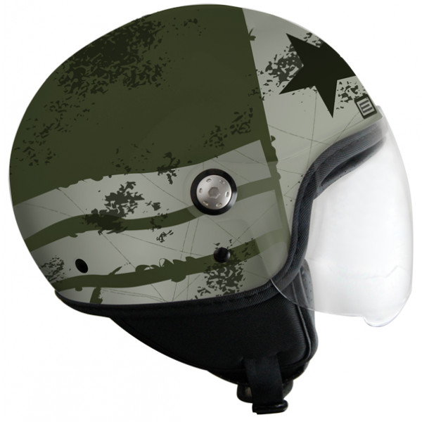 Casco jet Origine Mio Stars and Stripes Verde opaco