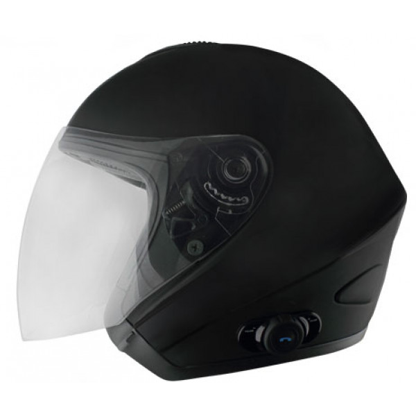 Casco jet Origine Tornado con interfono Blink G2 Nero opaco