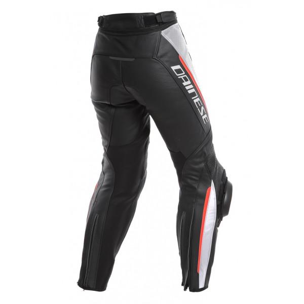 Pantaloni moto donna pelle racing Dainese DELTA 3 LADY traforati Nero Bianco Rosso