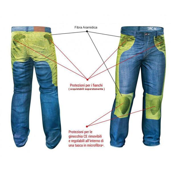 Pantaloni moto Motto FMJ con rinforzi in fibra aramidica  kaki
