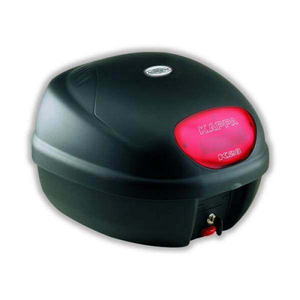 Bauletto Monolock Kappa K28NL con coperchio liscio nero goffrato con catadiottro rosso